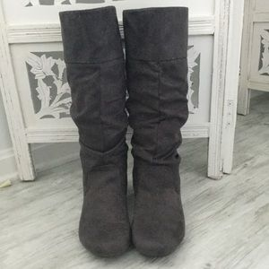Charcoal Gray Suede Slouchy Boots - 8.5 M